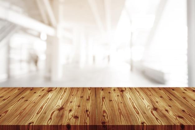 Sobremesa de madera vacía con borrosa de cafetería, cafetería, fondo bar Foto Premium