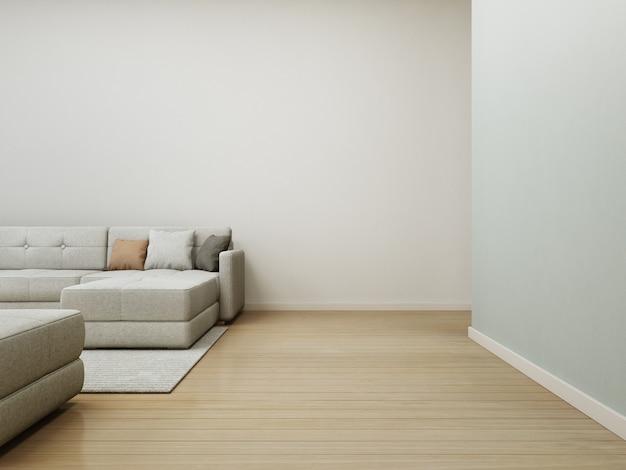 Sofá y alfombra en piso de madera con muro de hormigón blanco vacío Foto Premium