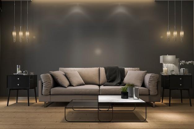 Sofá de lujo retro de la representación 3d en sala de estar negra mínima con la lámpara Foto Premium