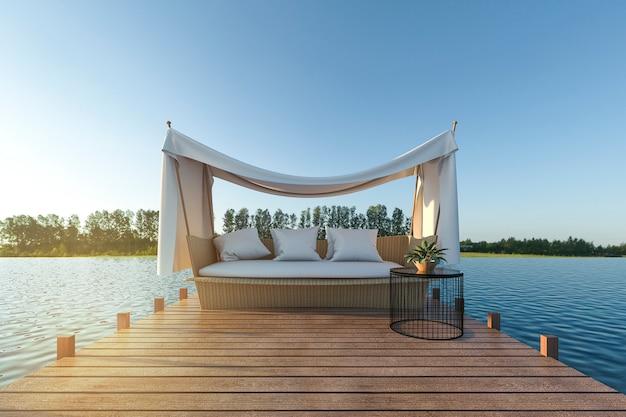Sofá de playa en terraza de madera cerca del mar Foto Premium
