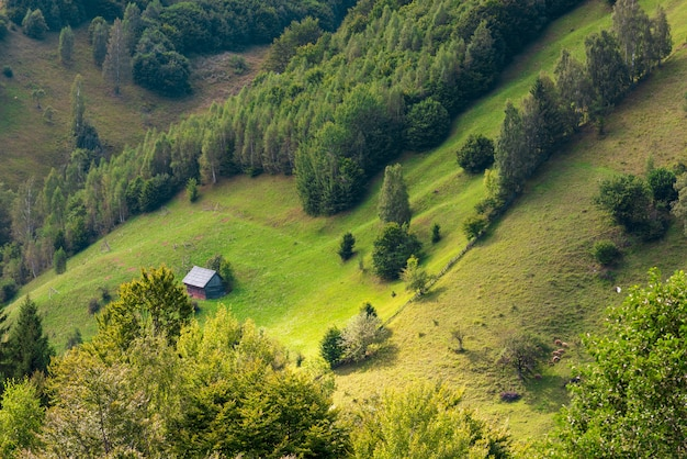 Sola casa antigua en las montañas Foto Premium