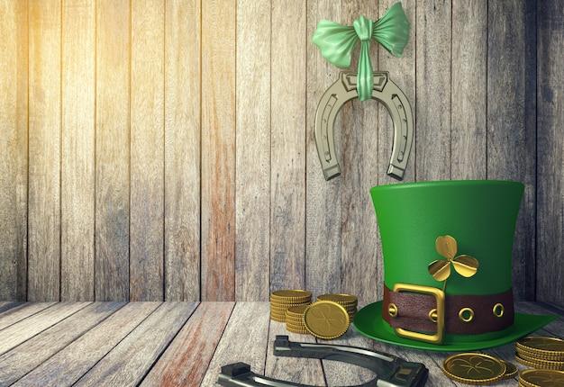 Sombrero de duende del día de san patricio con monedas de oro y herraduras sobre fondo de madera con espacio de copia, representación 3d Foto Premium