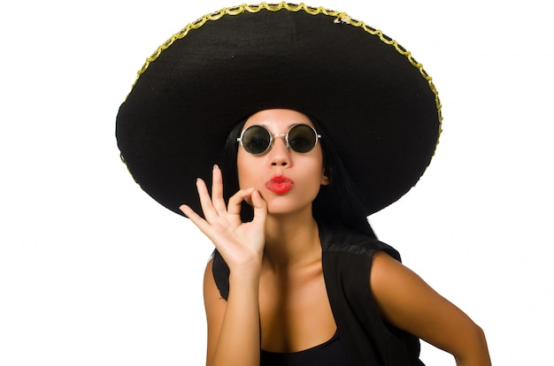 Sombrero que lleva de la mujer mexicana joven aislado en blanco Foto Premium