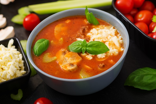 Sopa espesa de tomate con carne picada, champiñones y apio. Foto gratis