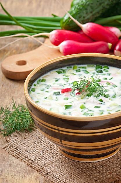 Sopa fría de kéfir de verduras con huevos y verduras Foto Premium