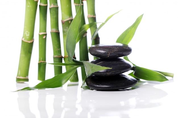 Spa piedras y hojas de bambú Foto gratis