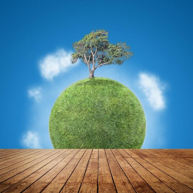 Suelo de madera con un planeta de fondo Foto gratis