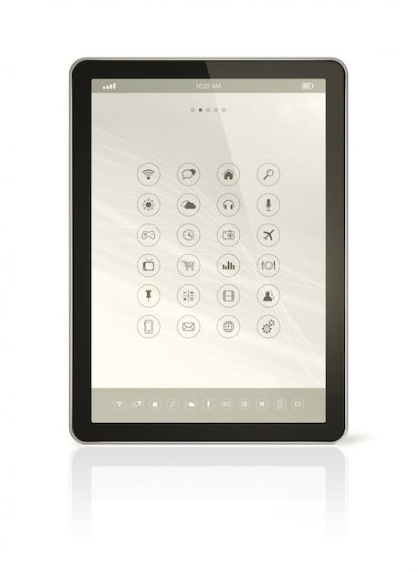 Tableta digital con interfaz de iconos de aplicaciones Foto Premium