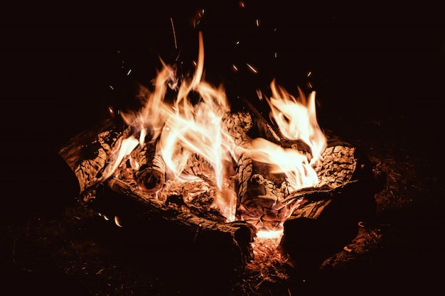 Tarde de fogata. campamento de fuego en el campamento turístico nocturno. Foto Premium