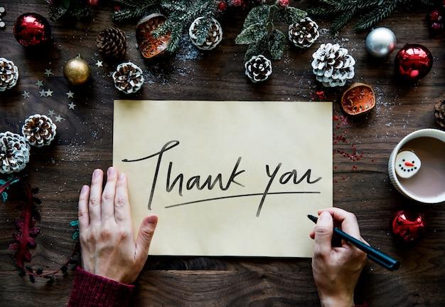 Tarjeta de agradecimiento de navidad Foto gratis