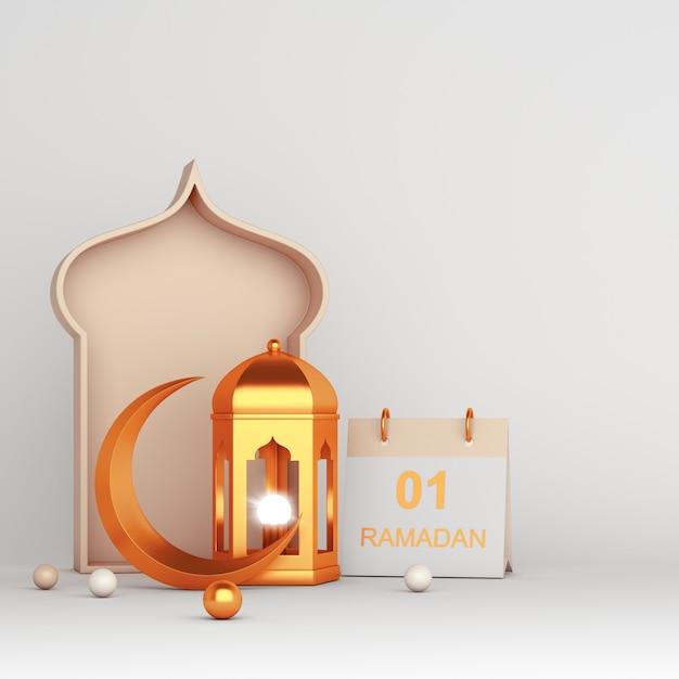 Tarjeta de felicitación de decoración islámica de ramadan kareem con linterna árabe creciente Foto Premium