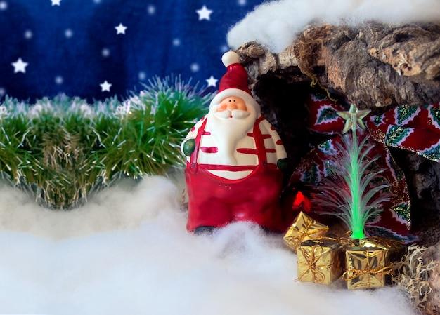 Tarjeta Navideña Con Santa Claus Y Espacio Para Escribir