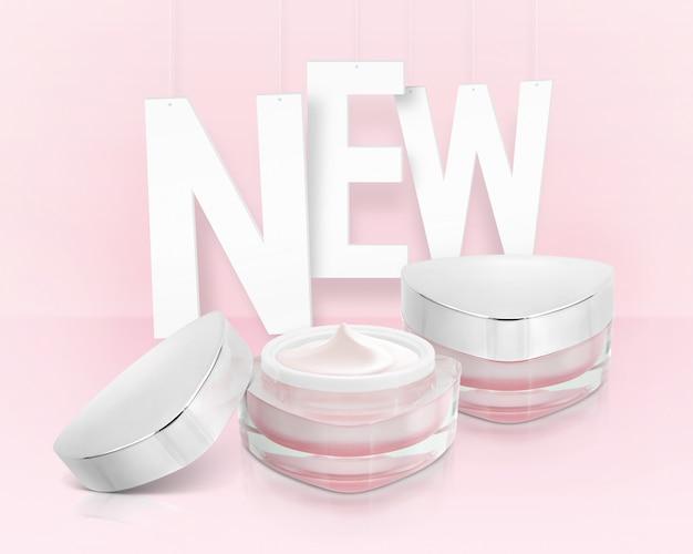 Tarros cosméticos triángulo rosa con nueva inscripción Foto Premium