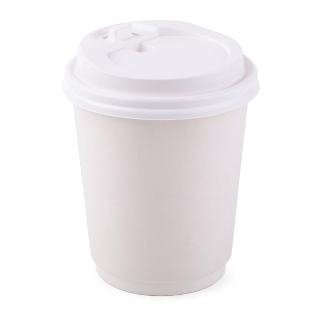 Taza de café para llevar del libro blanco aislada en un fondo blanco ...