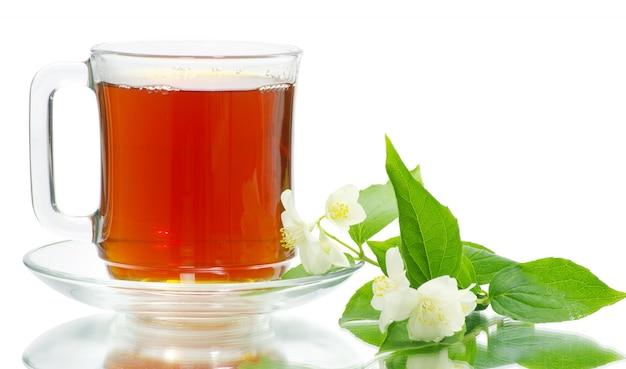 Taza de té en blanco Foto Premium