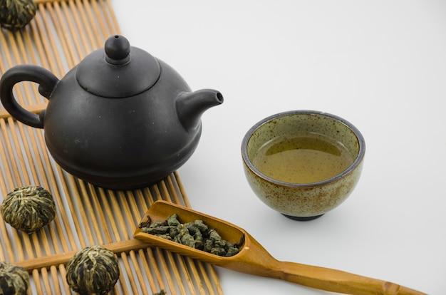 Tazas de té del oolong chino con la caldera tradicional en el fondo blanco Foto gratis