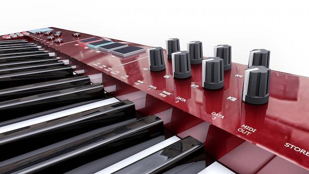 Teclado midi sintetizador rojo sobre superficie blanca. primer plano de teclas de sintetizador Foto Premium