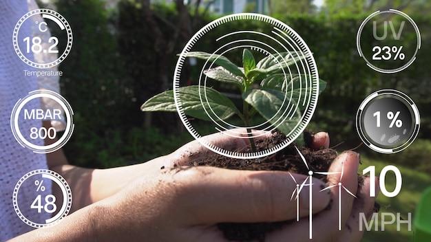 Tecnología inteligente de agricultura digital mediante recopilación de datos de sensores futuristas Foto Premium