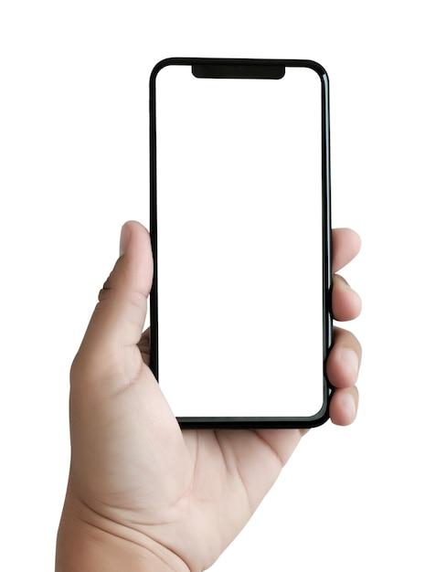 Teléfono nuevo smartphone de tecnología con pantalla en blanco y ...