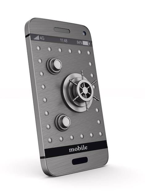Teléfono de protección sobre fondo blanco. ilustración 3d aislada Foto Premium