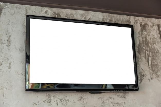 Televisión grande con pantalla en blanco Foto gratis