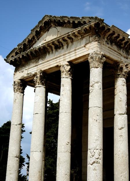 Templo griego con columna Foto Premium