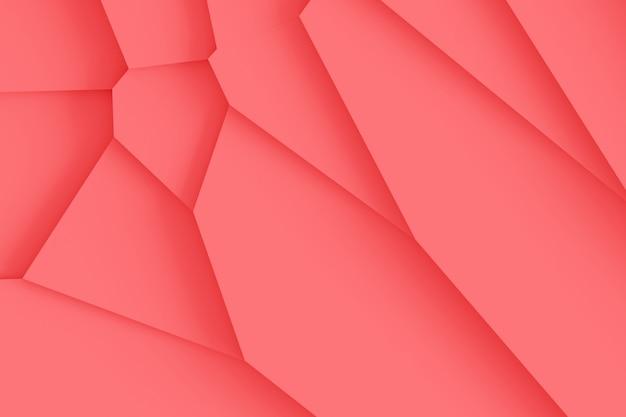 Textura digital ligera de bloques de diferentes tamaños de diferentes formas que se elevan uno encima del otro, proyectando sombras ilustración 3d de color coral vivo Foto Premium