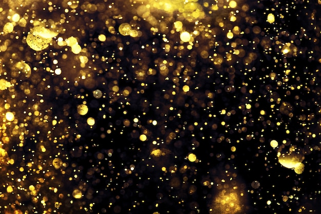 Textura de iluminación bokeh brillo dorado fondo abstracto borroso para cumpleaños, aniversario, boda Foto Premium