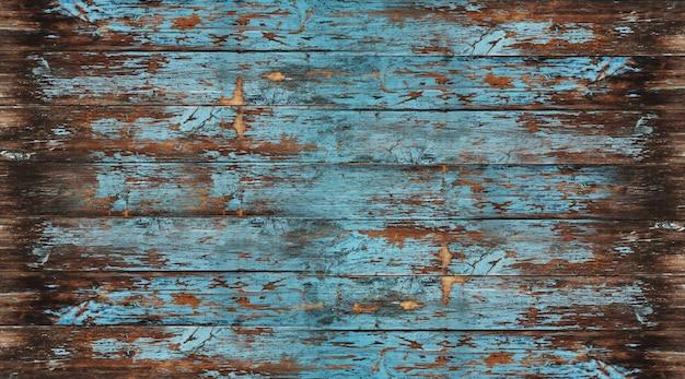 Textura de madera vieja, pelado de madera pintada de azul Foto Premium