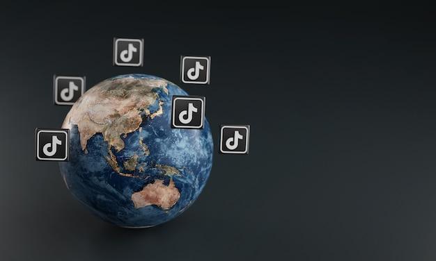 Tiktok logo icono alrededor de la tierra. concepto de aplicación popular. Foto Premium