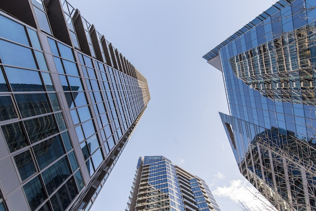 Tiro de ángulo bajo de edificios azules de gran altura Foto gratis
