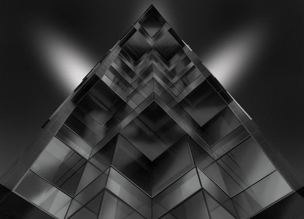 Tiro de ángulo bajo en escala de grises de un edificio de vidrio en forma de pirámide Foto gratis