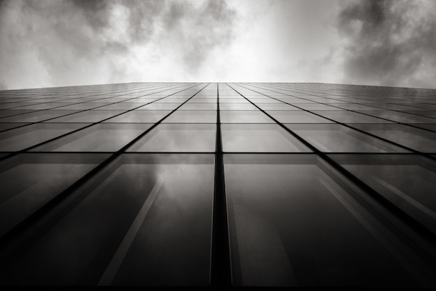 Tiro de ángulo bajo en escala de grises de un rascacielos una pared con ventanas de vidrio bajo el cielo nublado Foto gratis