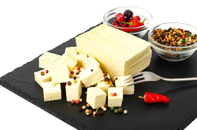 Tofu - producto de proteína de leche de soja. Foto Premium
