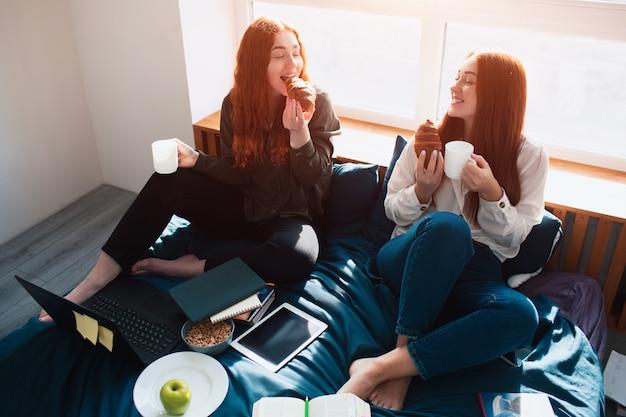Tómese un descanso, coma entre clases. dos estudiantes pelirrojos estudian en casa o en un dormitorio de estudiantes. se están preparando para los exámenes. Foto Premium