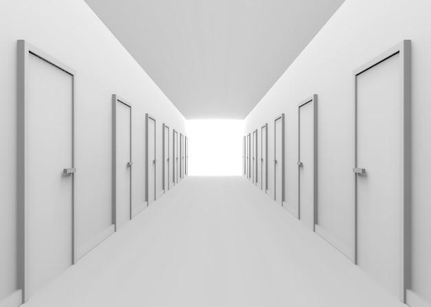 Tono blanco pasillo y muchas puertas con luz y al final del camino ...
