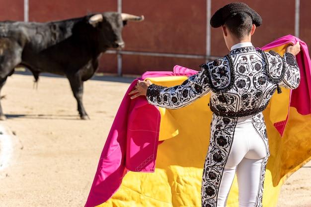 Torero taurino un toro en la plaza de españa Foto Premium