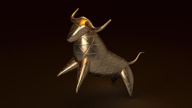 Toro de oro, render 3d en oscuro Foto Premium