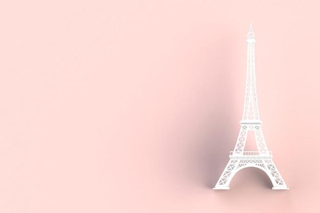 Torre Eiffel Blanca Sobre Fondo Rojo, Representación 3d