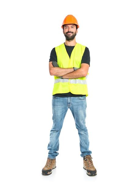 Trabajador sobre fondo blanco aislado Foto gratis