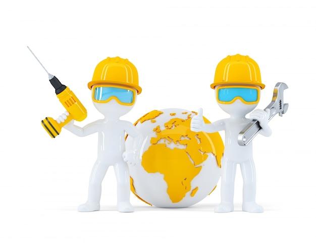 Trabajadores de la construcción con el globo Foto gratis