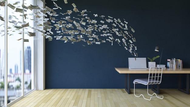 Trabajando en línea en la computadora portátil ganando dinero Foto Premium