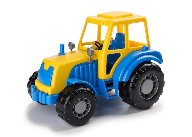 Aislado Azul Niños Juguete En Fondo Los Del De Un Tractor Amarillo vmwN8n0