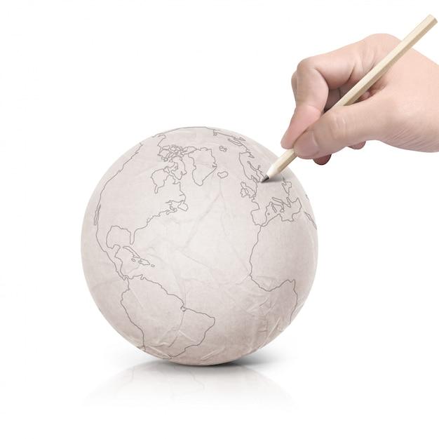 Trazo de dibujo mapa de américa en bola de papel Foto Premium