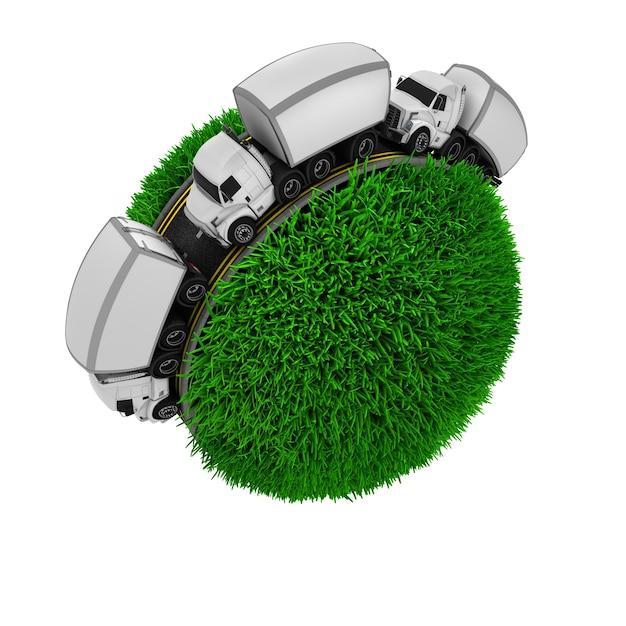 Tres camiones en una esfera de hierba Foto gratis