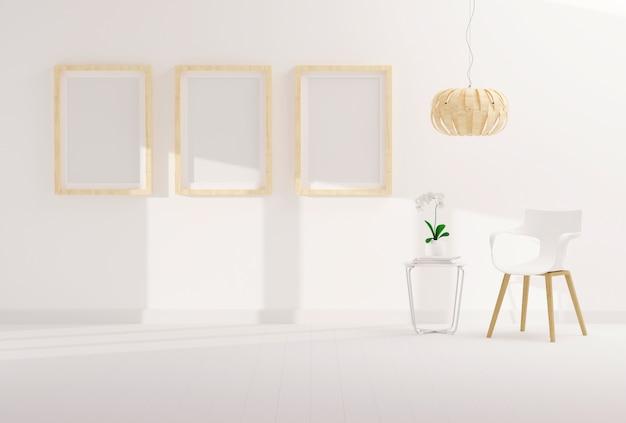 Tres marcos de fotos vacíos para maquetas en la moderna sala de estar Foto Premium