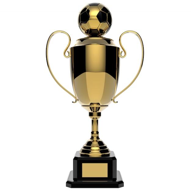 Trofeo de oro del premio de fútbol aislado en blanco con trazado de recorte Foto Premium