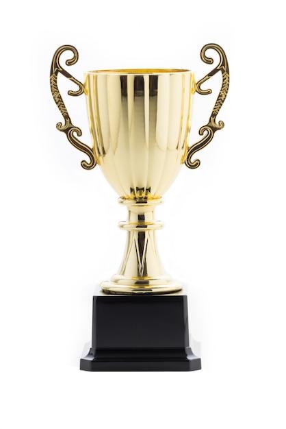 Trofeo de oro sobre fondo blanco aislado Foto Premium