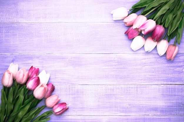 El tulipán rosado hermoso florece en el fondo de madera violeta con el espacio de la copia. Foto Premium