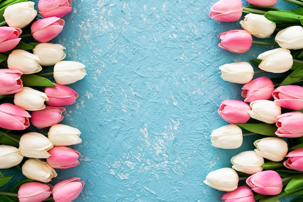 Tulipanes rosados y blancos sobre fondo azul grunge Foto gratis